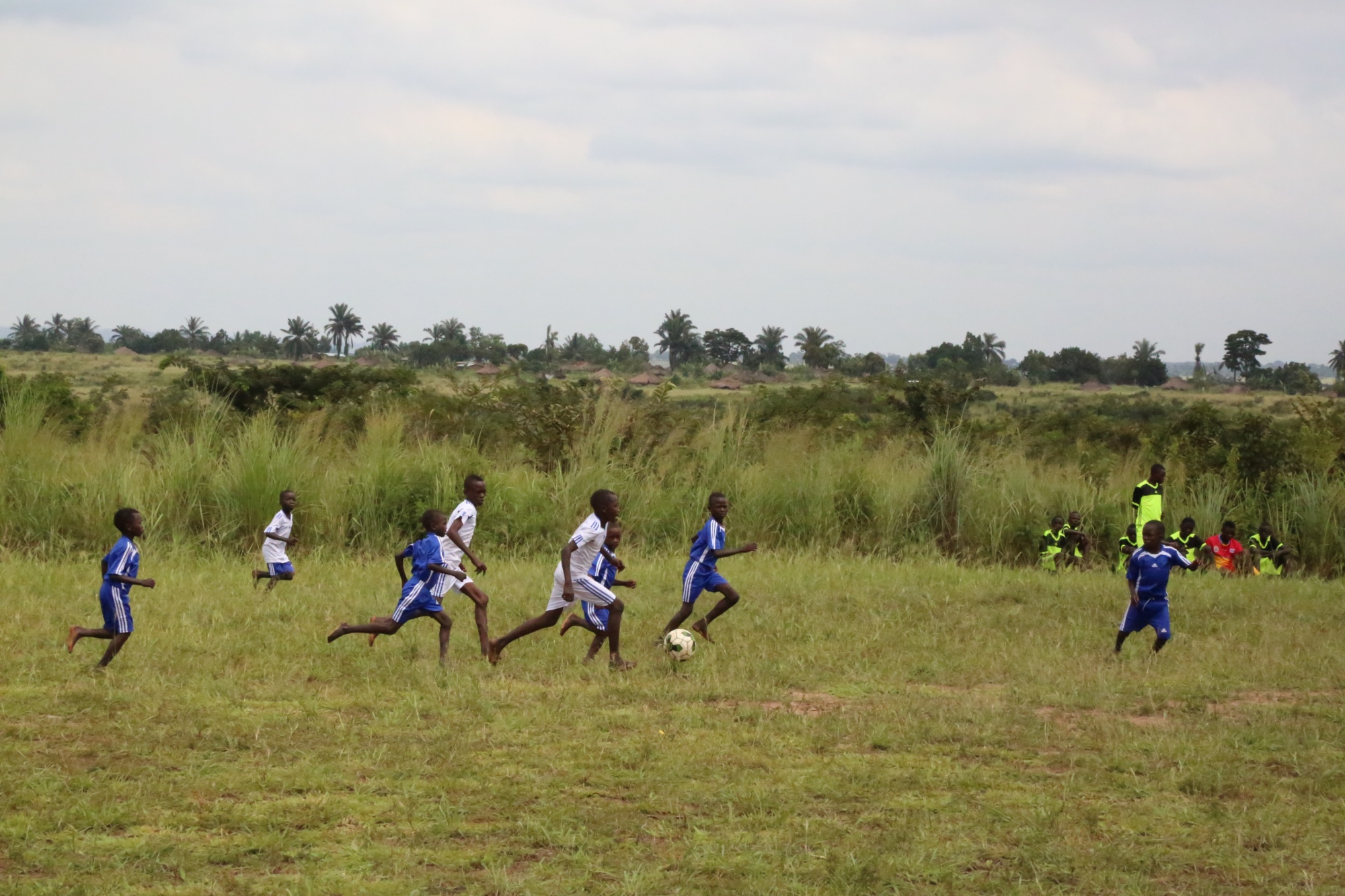Children in Kamilombe Child Friendly Space playing soccer. These children meet every Saturday morning to learn from Pointen