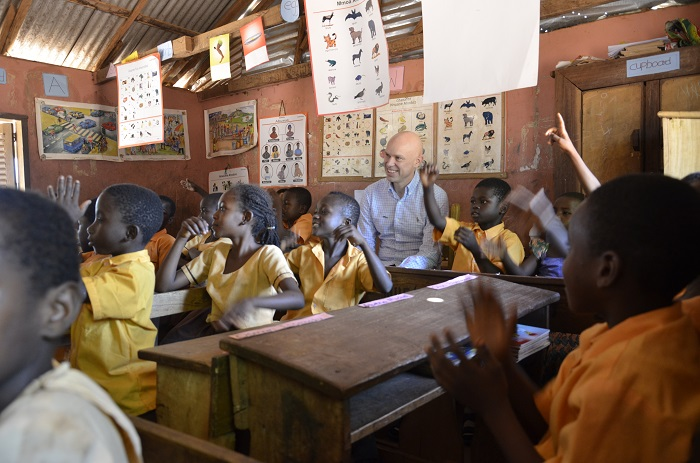 World Vision President, Andrew Morley, visits a reading camp in Ghana