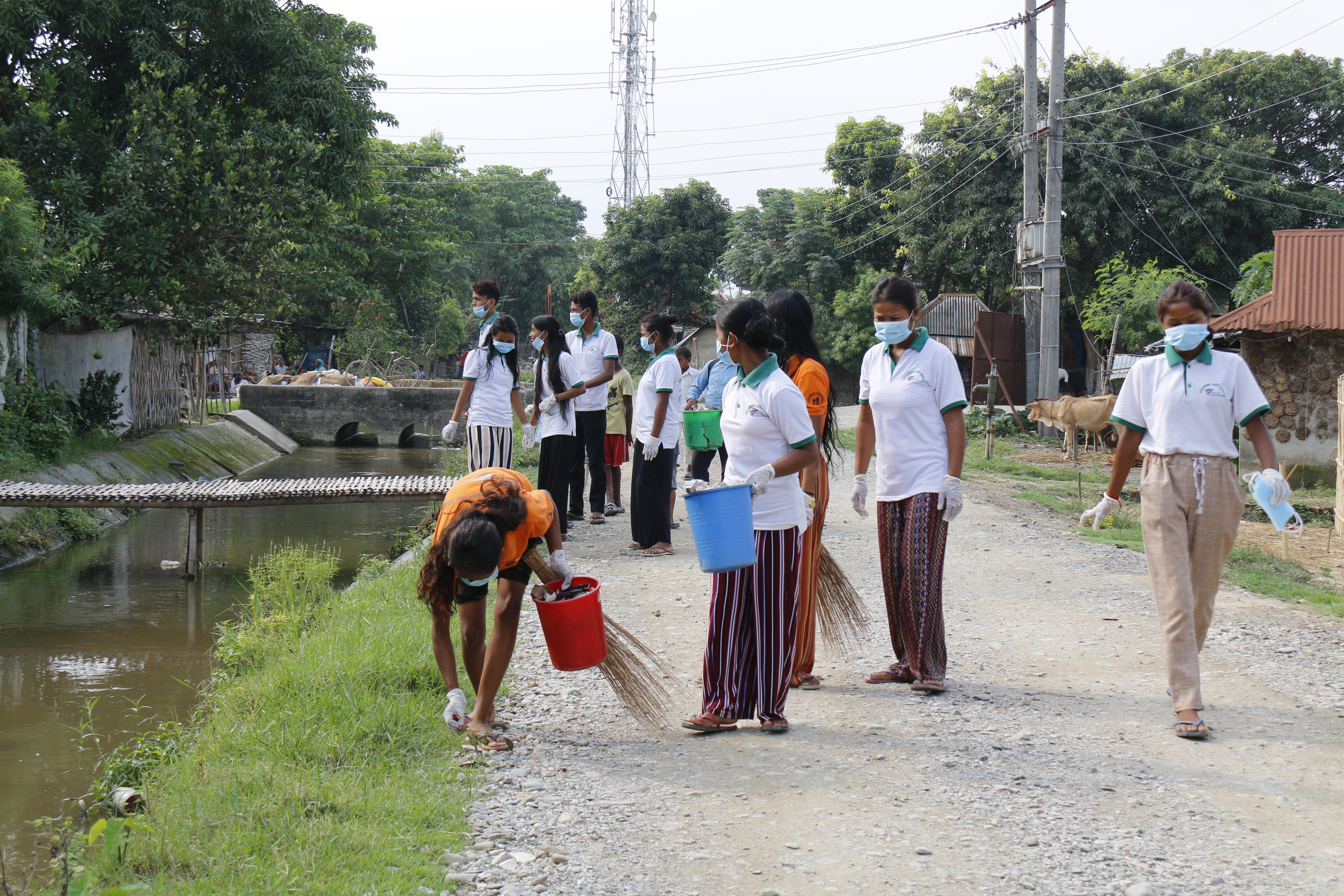 Club members clean their community