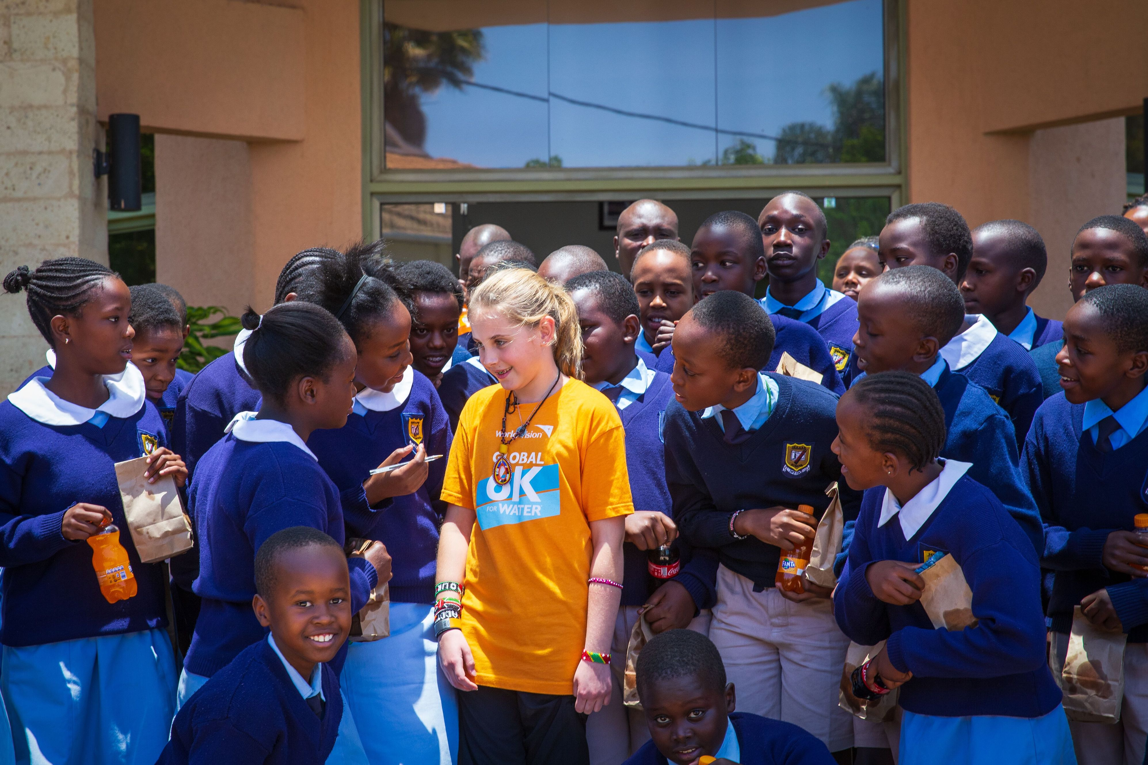 Addyson interacting with pupils from Serare School during an event at World Vision where her charity work inspired many children©World Vision/Photo by Christopher Huber.