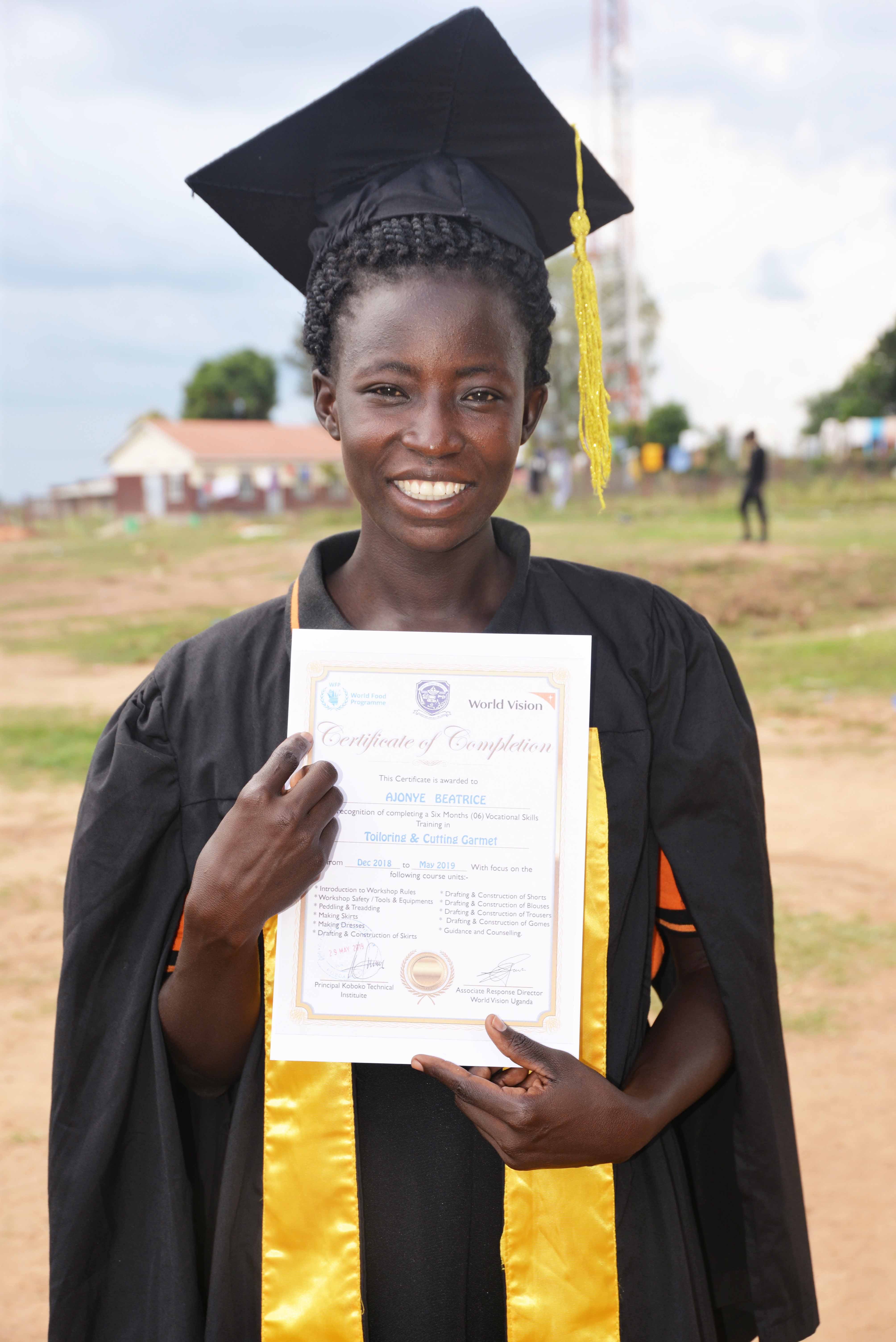 Beatrice Ajonje, 26, is now optimistic about her future after attaining tailoring skills copy