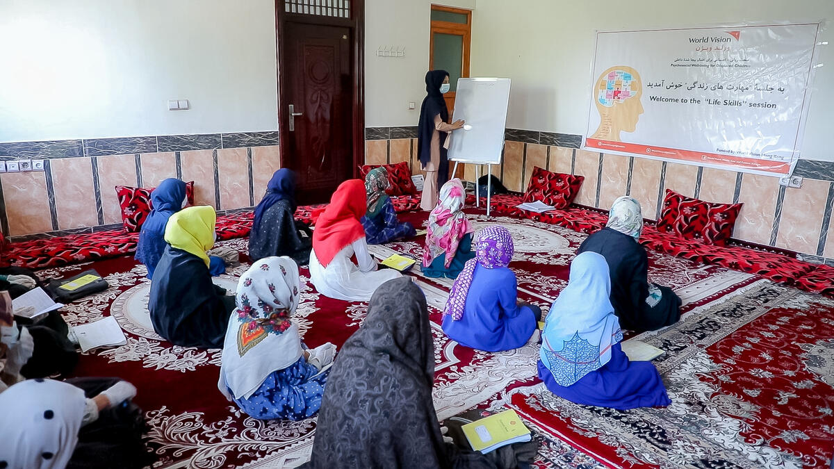 Here in Herat, Zahira has the opportunity to learn with other girls.