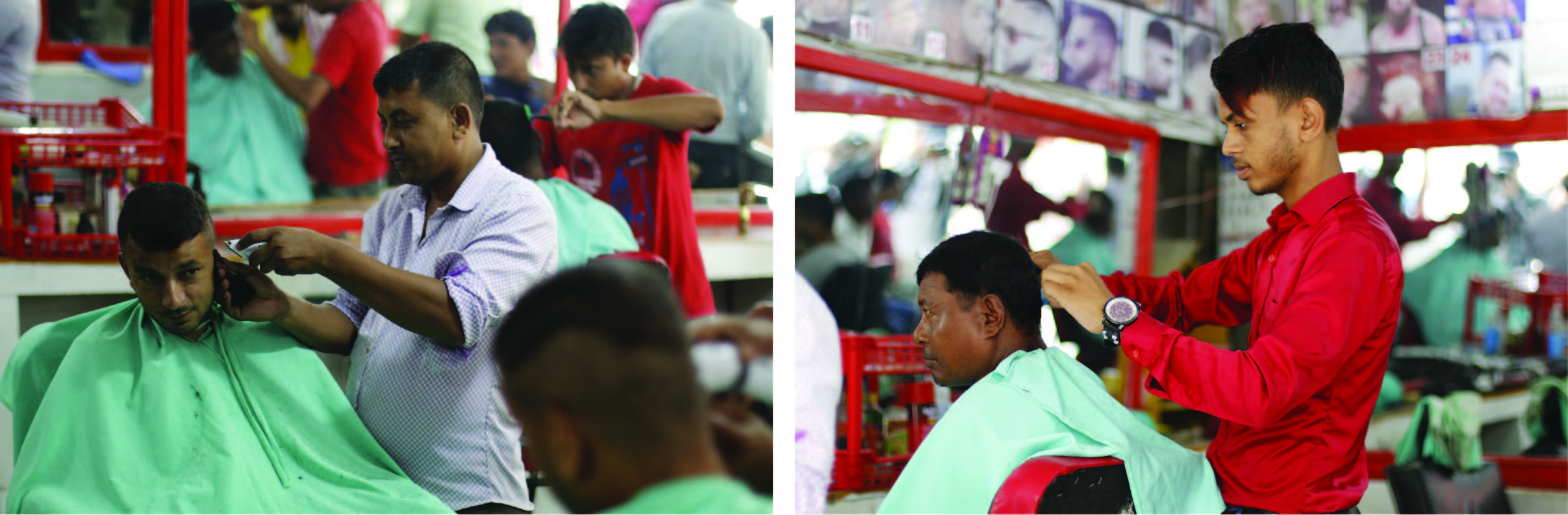 Chandan and his father working in their saloon