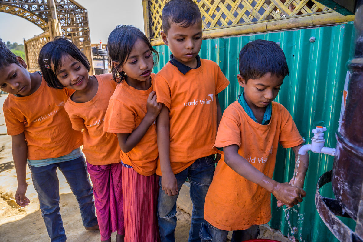 WASH  Rohingya children learn about the importance of handwashing through our hygiene promotion sessions. World Vision has provided more than 300,000 refugees with water and sanitation services.