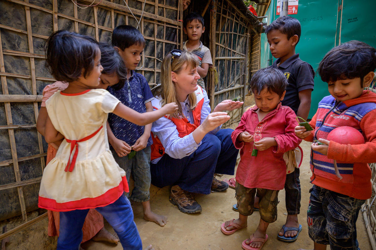 PROTECTION  World Vision supports more than  370,000 Rohingya refugees living in the 23 camps, and Bangladeshis in need in host communities.    We provide principled, timely protection and assistance, which promotes the dignity of people, especially the  children.