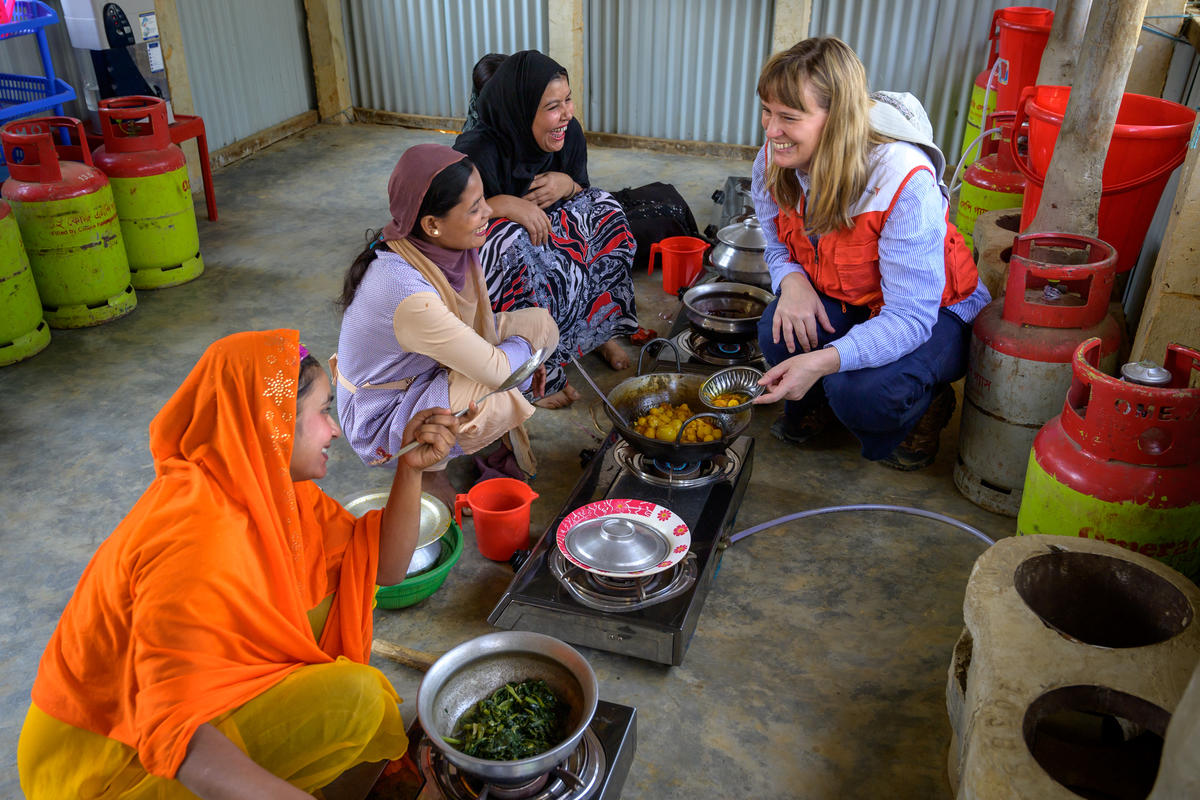 """When women are empowered, their whole family benefits—especially in a crisis. Every time I visit the camps, Rohingya women tell me that they don't want to be dependent on aid. They want to learn new skills so they can earn a living and feed their children better. Many are emerging as strong community leaders. As a woman leader myself, I want to do everything I can to support them."" says Rachel."