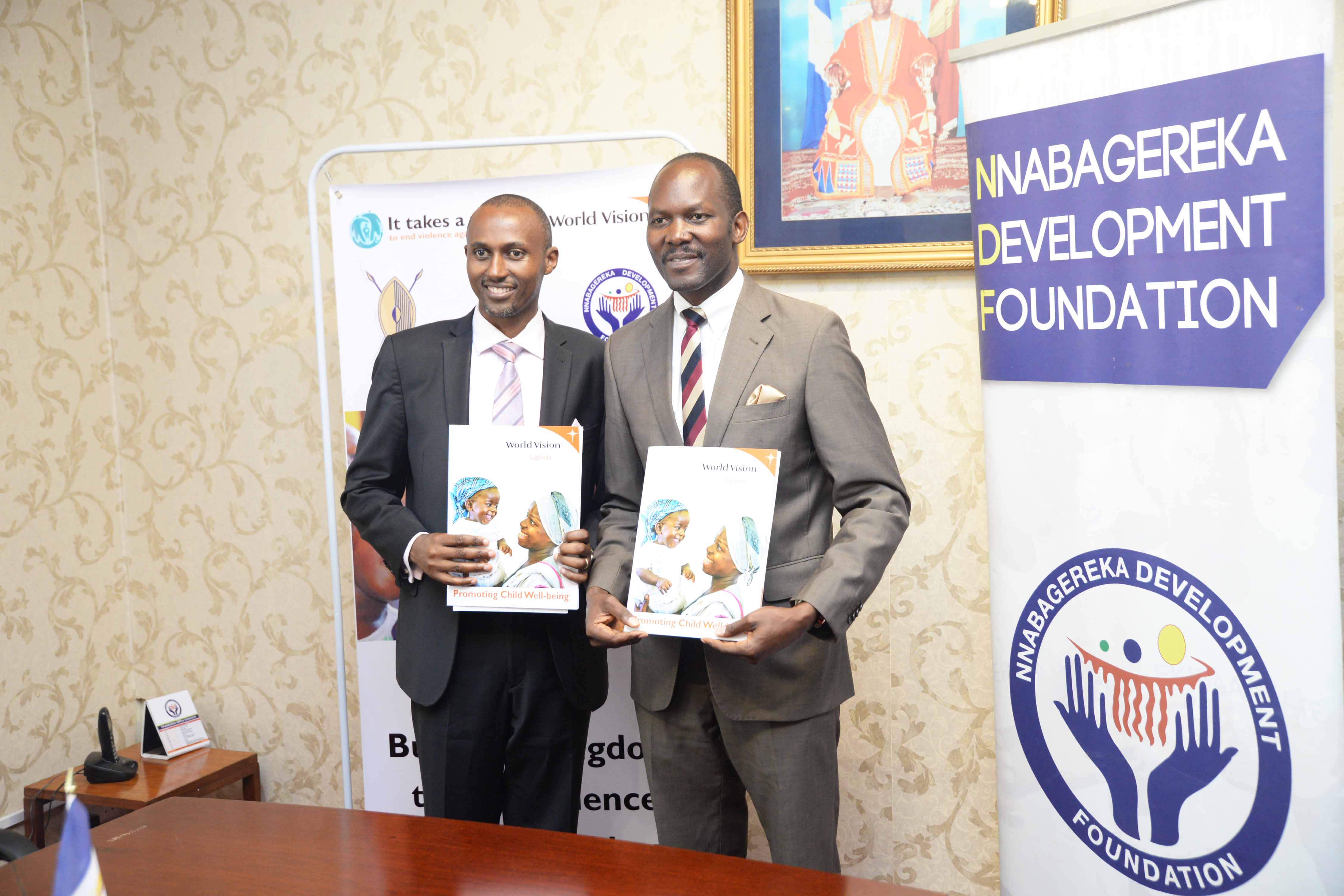 Operations director for World Vision in Uganda with the board chair of the Nabagereka foundation