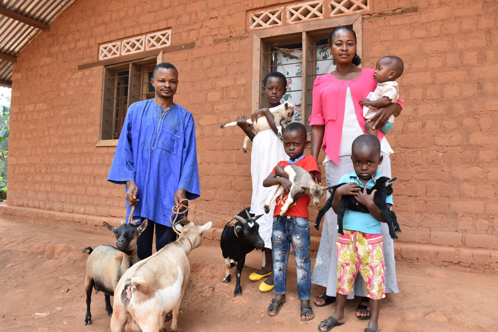 Donnel's family with their goats