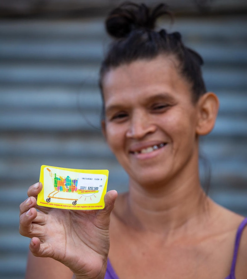 Maria in Colombia's food voucher is a lifeline.