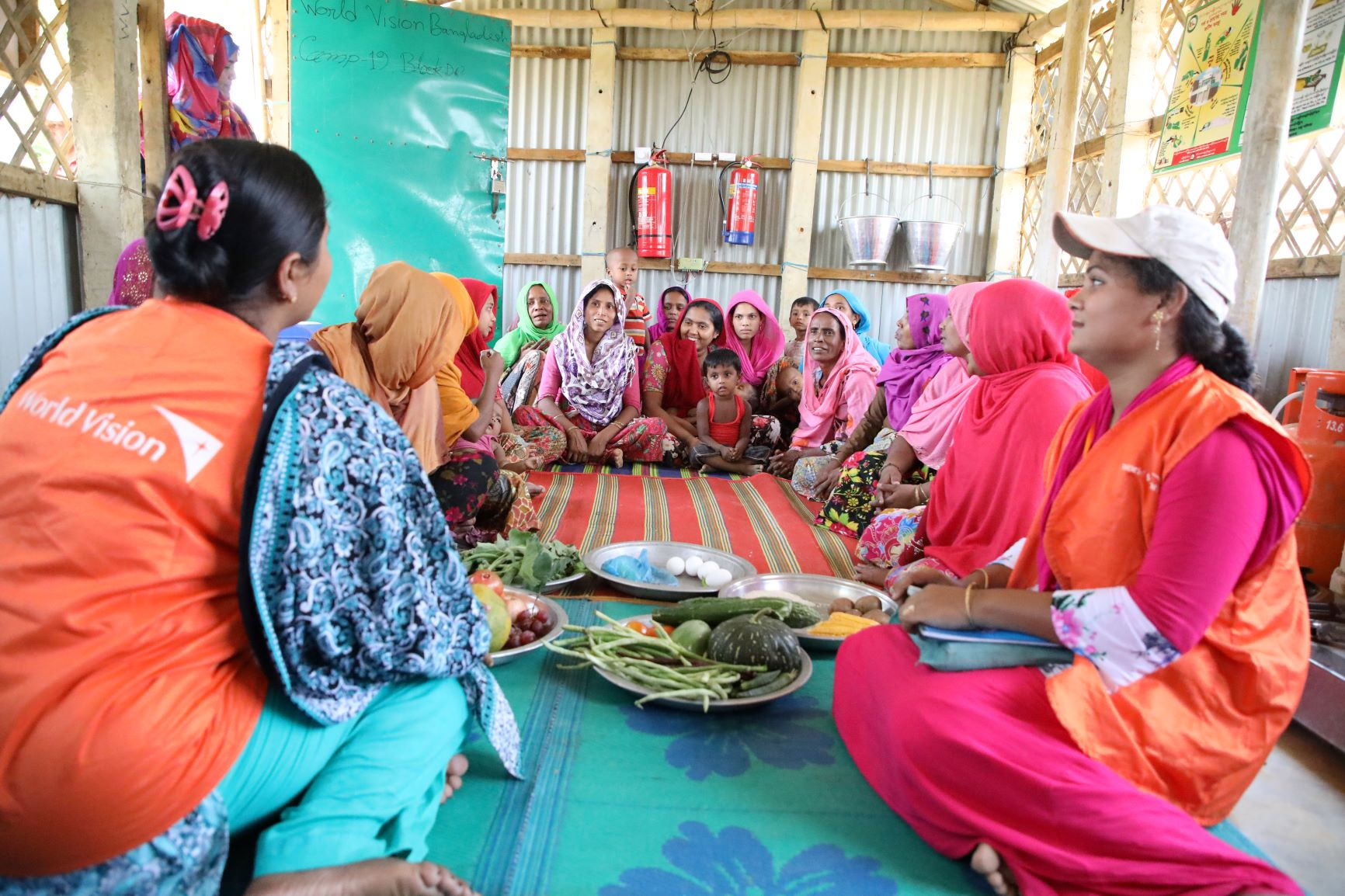 Rohingya women and adolescent girls participate in weekly classes on basic nutrition, health and hygiene practices, and kitchen gardening.