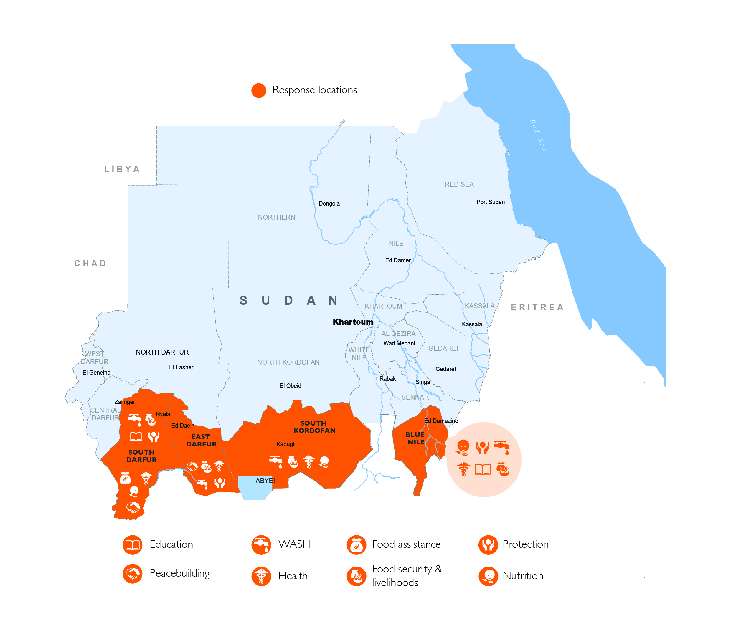 World Vision response locations map