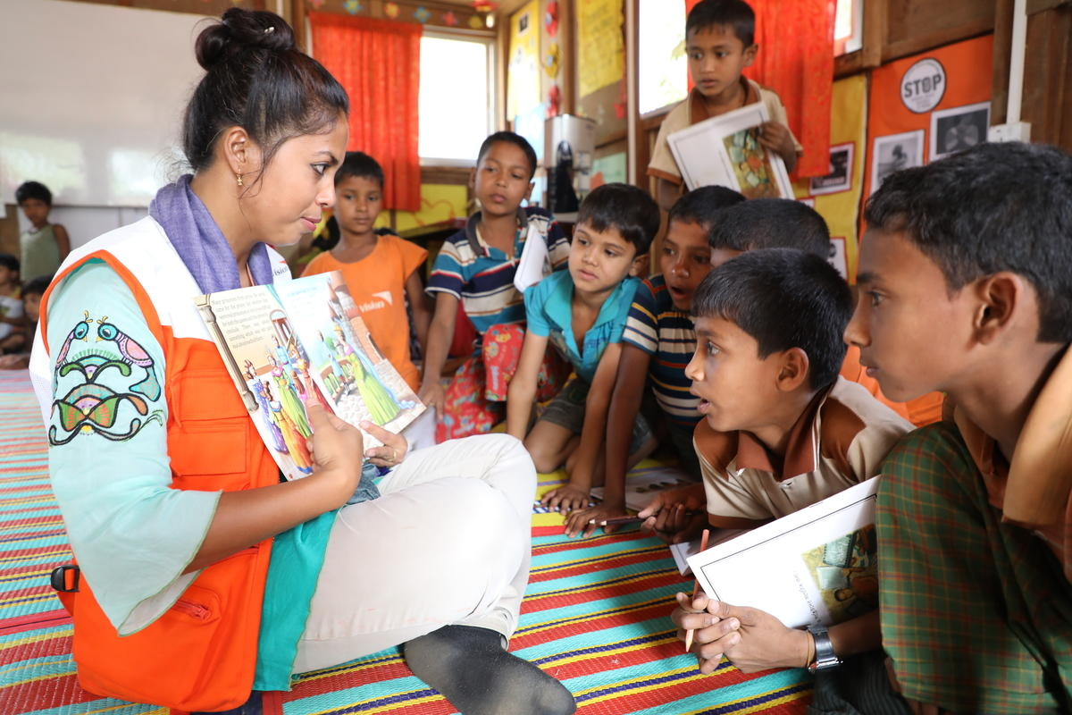 CHILD PROTECTION:  World Vision's child protection work includes informal education for children and adolescents. Children learn Burmese, English, math and life skills in our 21 centres.