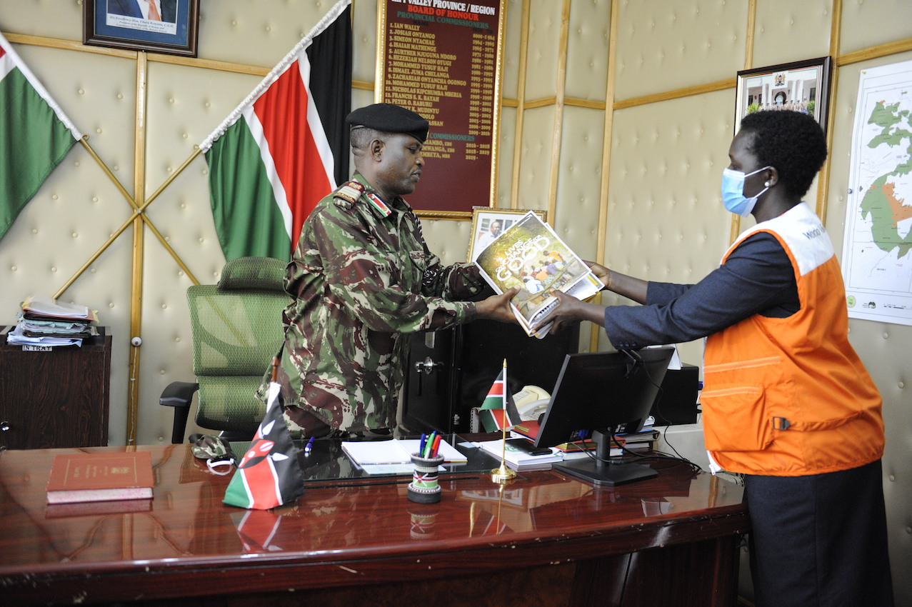Catherine Timbomei, World Vision Regional Manager pays a courtesy call to  George Natembeya the Rift Valley Regional Commissioner. He is incharge of the police force that plays a key role in enforcing child protection laws. ©World Vision Photo/Dickson Kahindi.