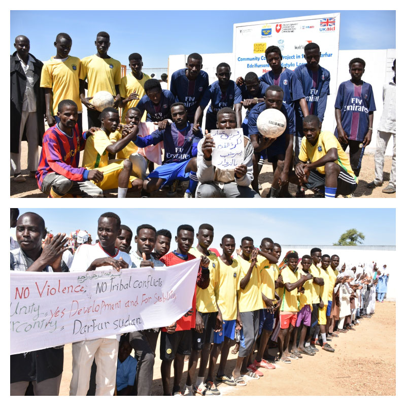 Youth from different ethnic groups in the Darfur region using football to build bridges in their community.