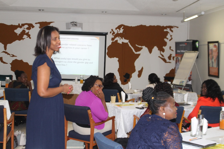 Leila Ntibashirwa, the course convener, sharing at the Women in Leadership training.