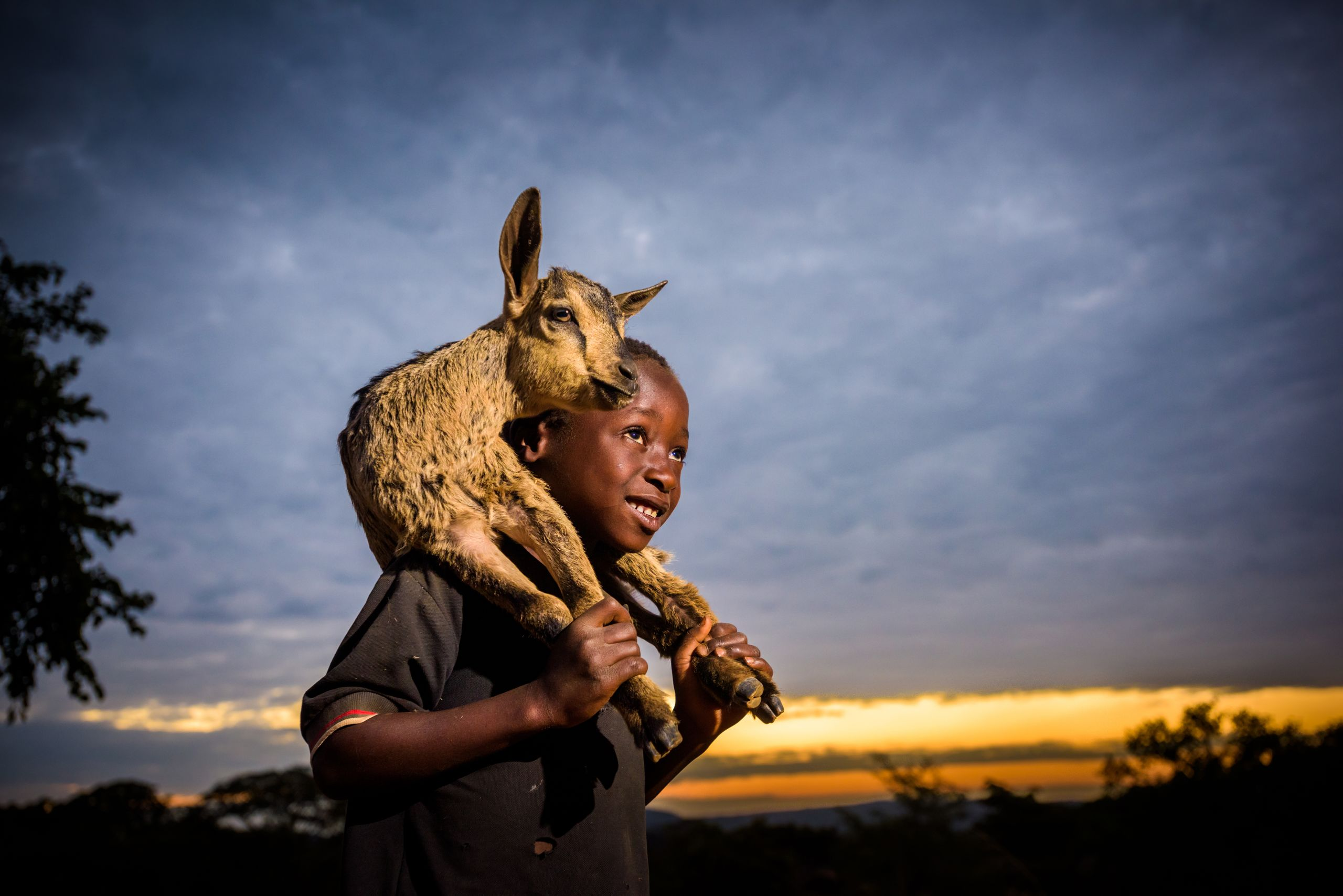 """<alt=""""A boy smiling and carrying a goat"""">"""