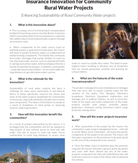 Factsheet - Insurance Innovation for Community Rural Water Projects