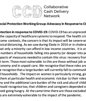 CCD Social Protection Working Group: Advocacy in Response to COVID-19