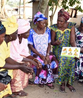 Mamanieva Grandmother Esther with grandmothers in Sierra Leone