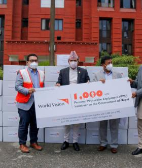 World Vision International Nepal supported 1000 PPE and 120 IR thermometers to the GoN