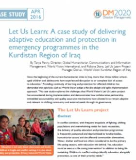 Let Us Learn: A case study of delivering adaptive education and protection in emergency programmes in the Kurdistan Region of Iraq