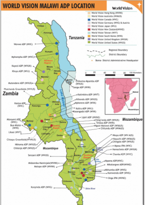 Map Of World Vision Malawi World Vision International - Malawi map png