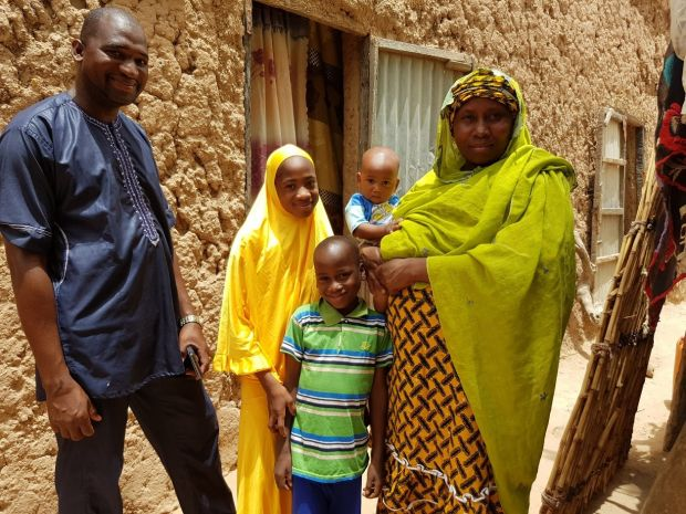 Aissa together with her husband and three of her children