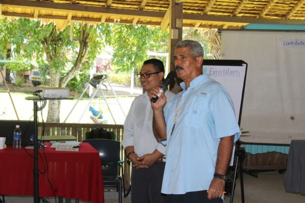 World Vision Country Director Janes Ginting and Vice Chair of SICA, Archbishop Christopher Cardone at the workshop.
