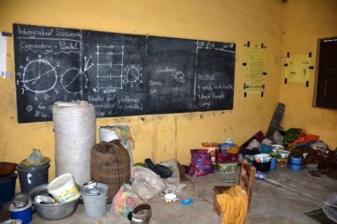 Some belongings of displaced persons seeking shelter in a school
