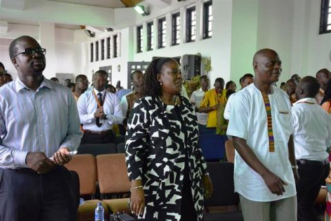 From left Baffour Otu-Boateng, Board Member, Efua Ghartey, Vice Board Chair and Dickens Thunde, National Director singing and dancing at Day of Prayer