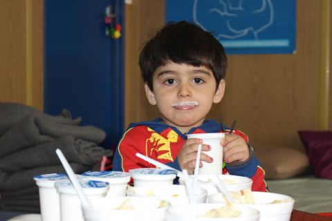 "Barran enjoyed his yogurt so much he ""grew"" white mustaches"