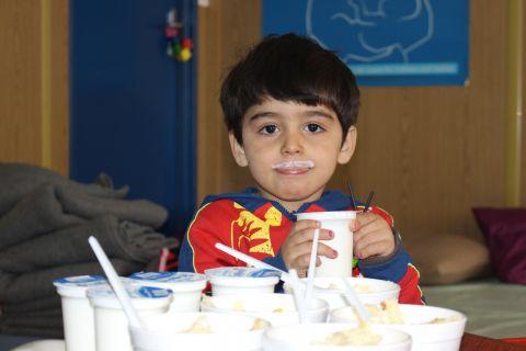 """Barran enjoyed his yogurt so much he """"grew"""" white mustaches"""
