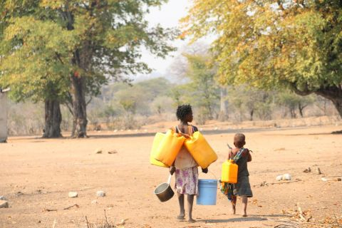 Children search for water