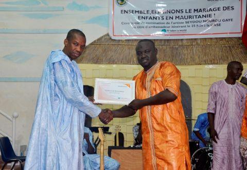 Cérémonie de Nomination de Saidou Nourou Gaye comme Ambassadeur itinérant a World Vision pour la Campagne de lutte contre le mariage des enfants en Mauritanie