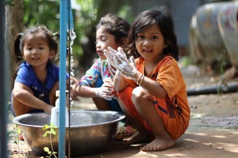 Children Practicing Hand Washing