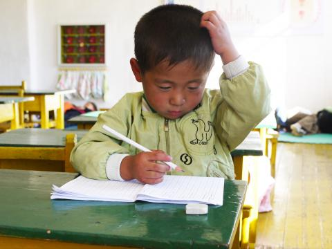 A young boy reads a book in school