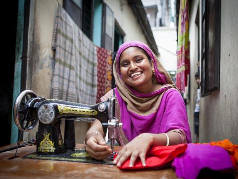 A woman with a sewing machine
