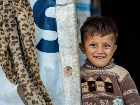 Rami,3, fled Syria with his mum and baby sister 6 months ago. They have been living in a makeshift settlement in Lebanon's Bekaa Valley since.
