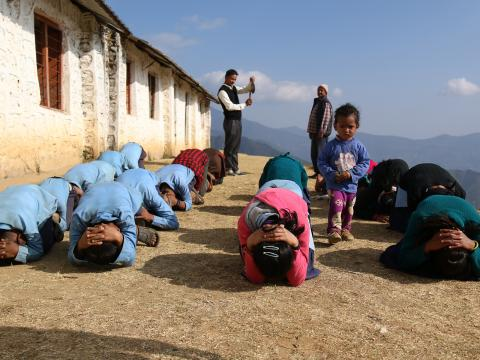 Children practice risk training in rural Nepal