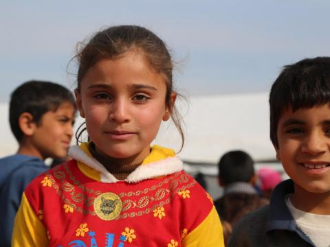 An Iragi girl in a refugee camp