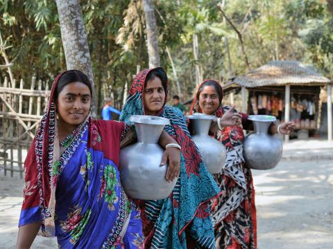 Gita Biswas regularly collects water from PSFs established by World Vision Bangladesh