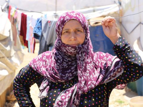 Shamsa in her informal settlement in Bekaa, Lebanon