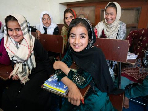 Afghan girl in school