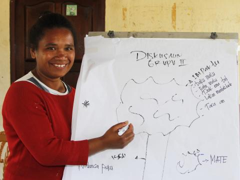 Zenilda trained high school students on gender and child protection. Photo: Jaime dos Reis/World Vision
