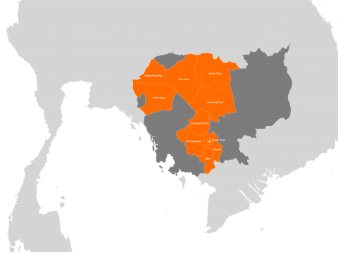 Cambodia highlighted within South East Asia