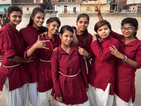 A group of karate girls in India