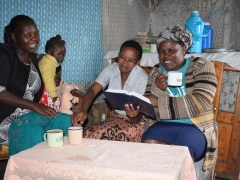 Mary (right) having a good time with Rahab (centre) and her friend, at her home in Mweiga, Nyeri County. She tackled her mental health problem through a low-cost approach being rolled out by World Vision.©World Vision/Photo by Sarah Ooko