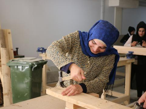 Youth working in Carpentry
