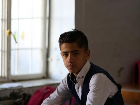 Determined Ahmed in one of the oldest schools in Mosul that was built in 1848 where catch up classes took place in the summer.: Shayan Nuradeen, © World Vision 2020.