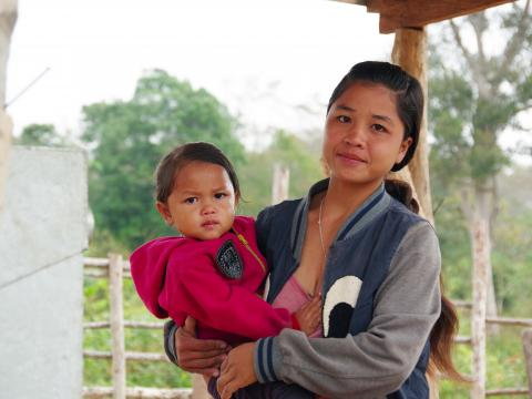 Lao mother with her daughter